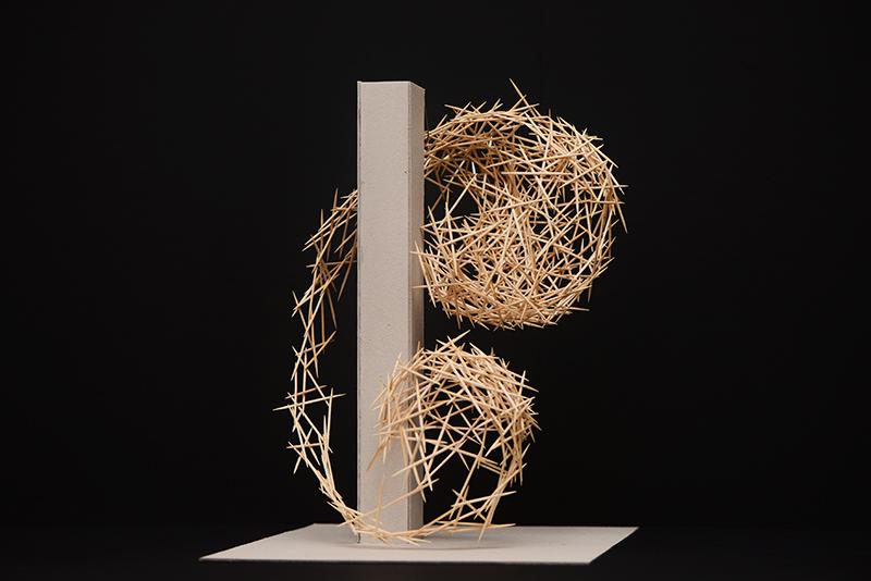 modell aus zahnstocher für skulptur aus bambus